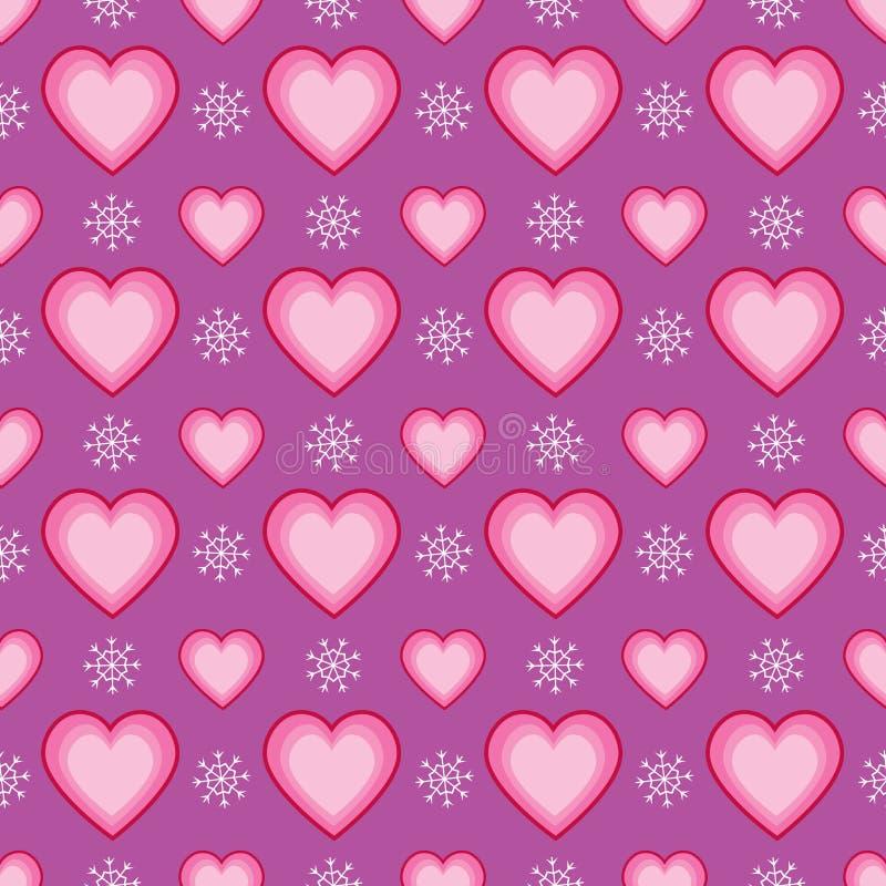 Άνευ ραφής πρότυπο καρδιών και Snowflake απεικόνιση αποθεμάτων