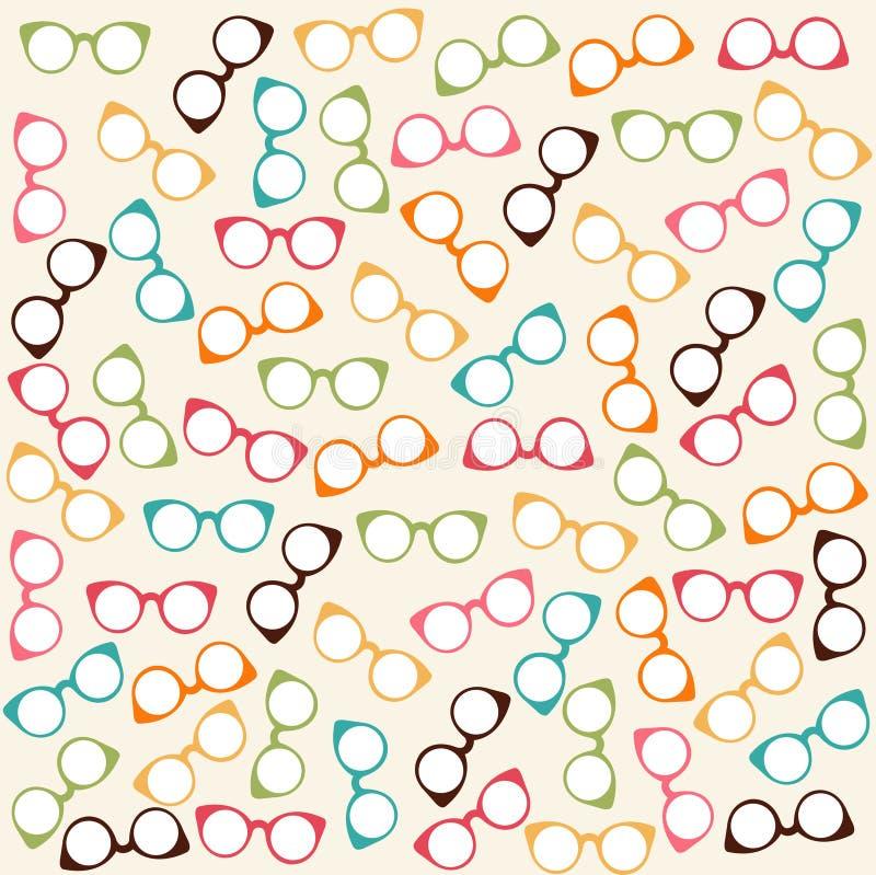 Άνευ ραφής πρότυπο με τα γυαλιά διανυσματική απεικόνιση