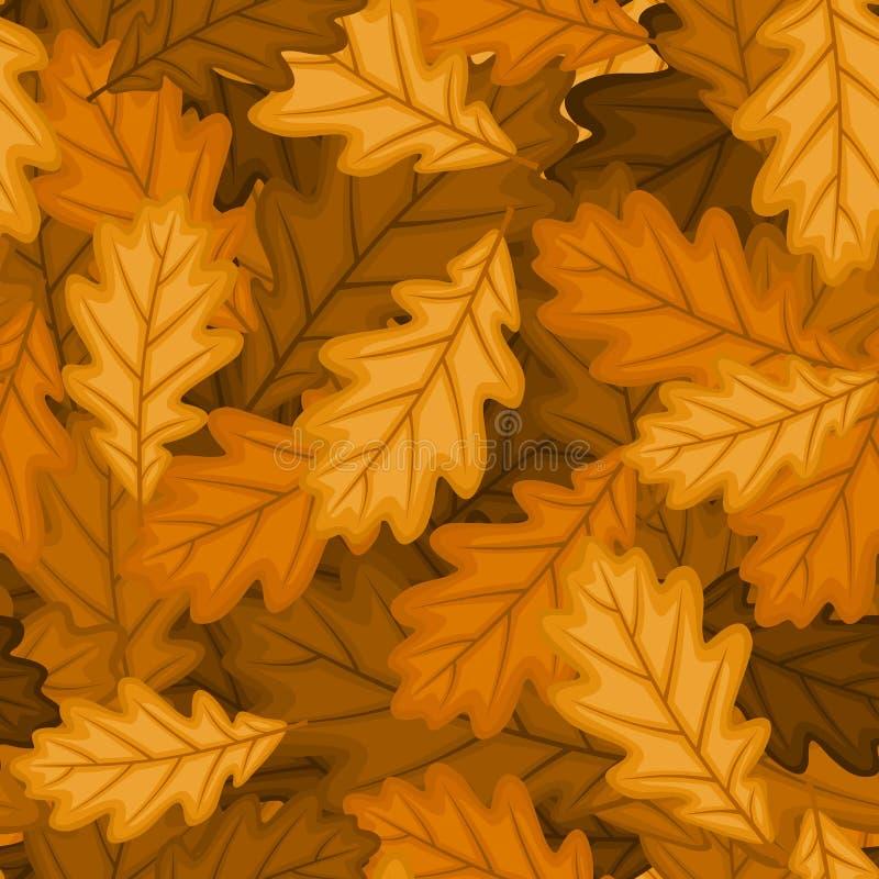 Άνευ ραφής πρότυπο με τα δρύινα φύλλα φθινοπώρου. Διανυσματικό EP ελεύθερη απεικόνιση δικαιώματος