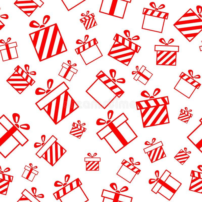 Άνευ ραφής πρότυπο με τα κιβώτια δώρων απεικόνιση αποθεμάτων