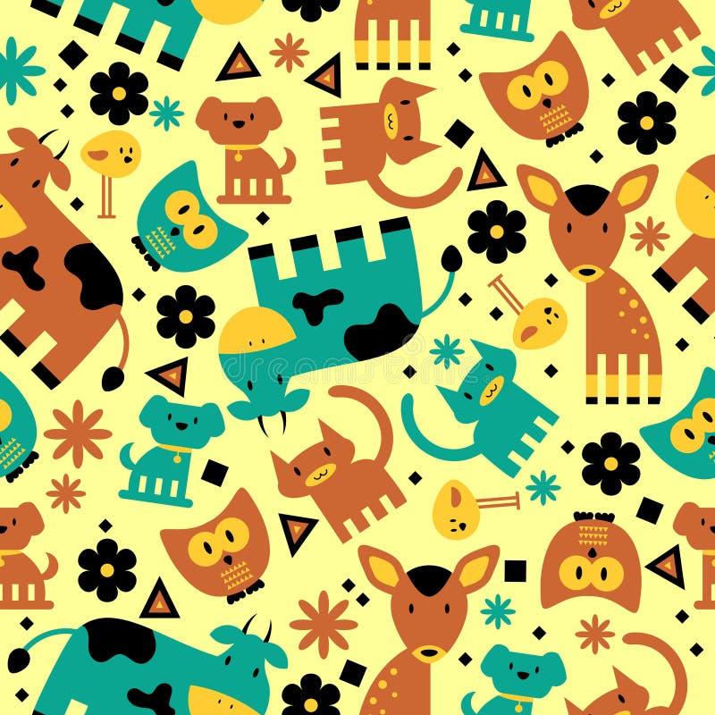 Άνευ ραφής πρότυπο με τα χαριτωμένα ζώα διανυσματική απεικόνιση
