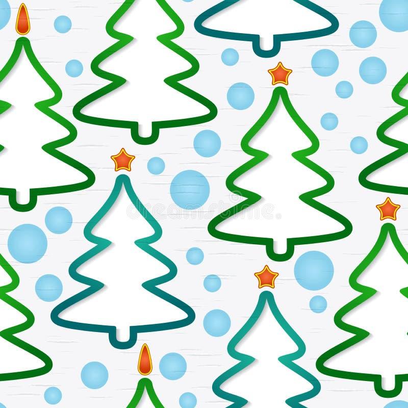 Άνευ ραφής πρότυπο με τα Χριστούγεννο-δέντρα ελεύθερη απεικόνιση δικαιώματος