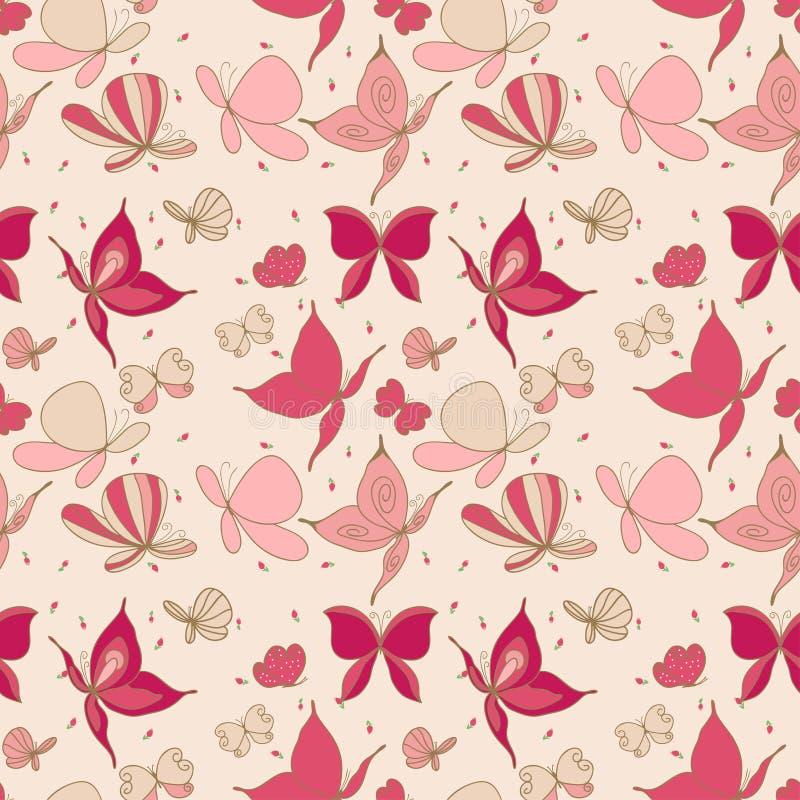 Άνευ ραφής πρότυπο πεταλούδων ελεύθερη απεικόνιση δικαιώματος