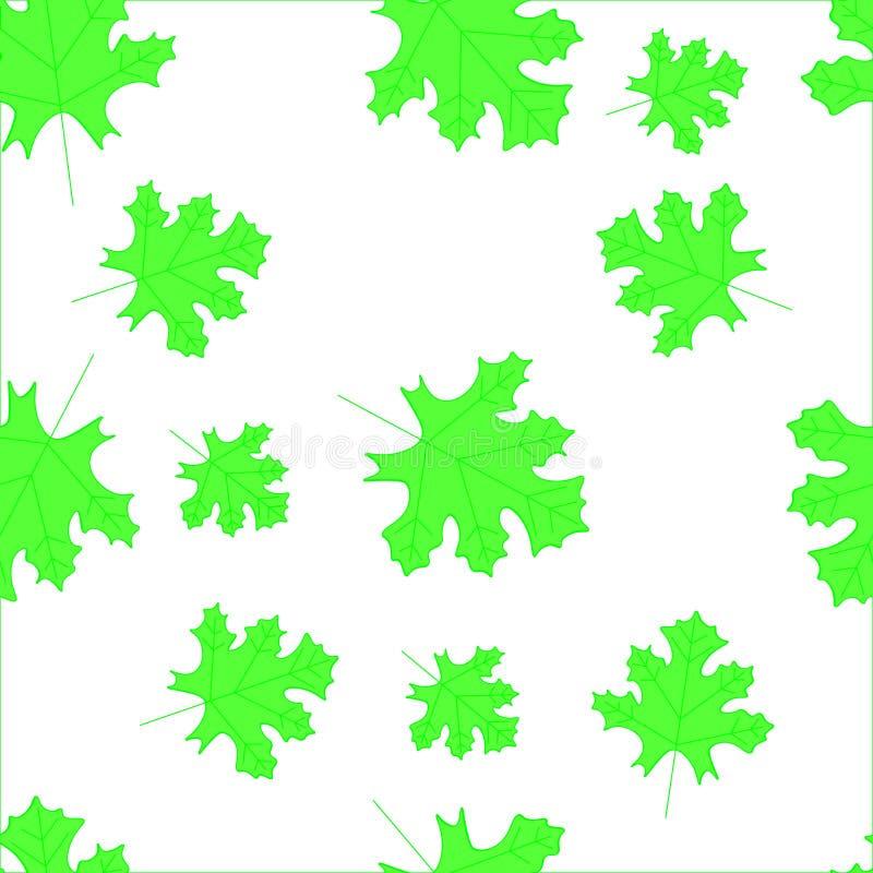 Άνευ ραφής πρότυπο φθινοπώρου με τα φύλλα Κάρτα με τις τυπωμένες ύλες φύλλων Φύλλα των δέντρων διανυσματική απεικόνιση
