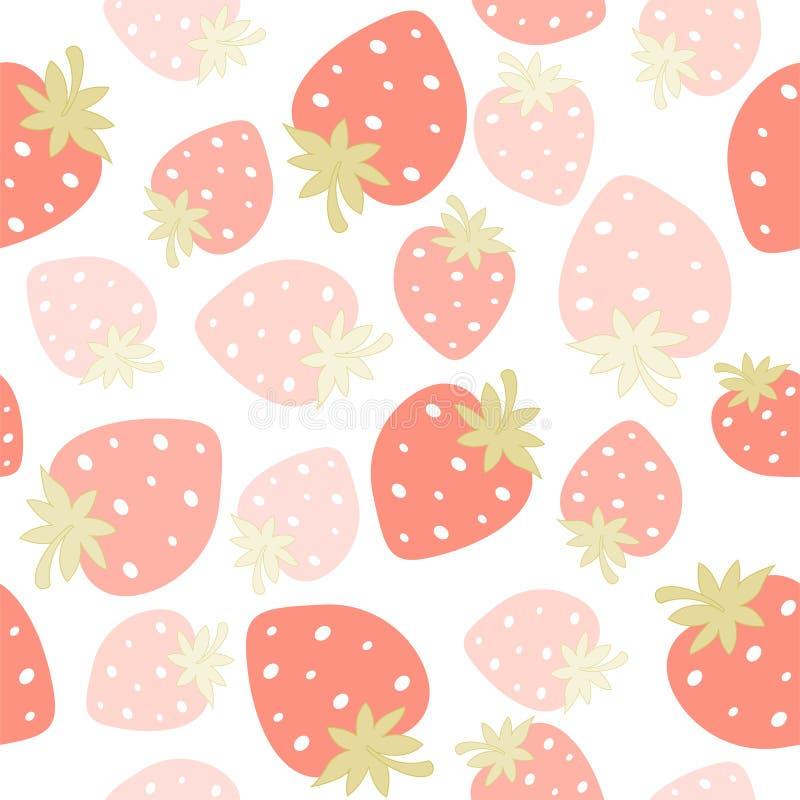 Άνευ ραφής πρότυπο φραουλών διανυσματική απεικόνιση