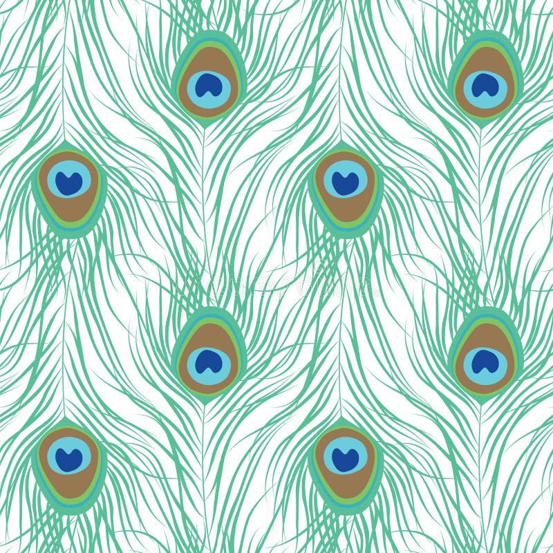 Άνευ ραφής πρότυπο φτερών Peacock διανυσματική απεικόνιση