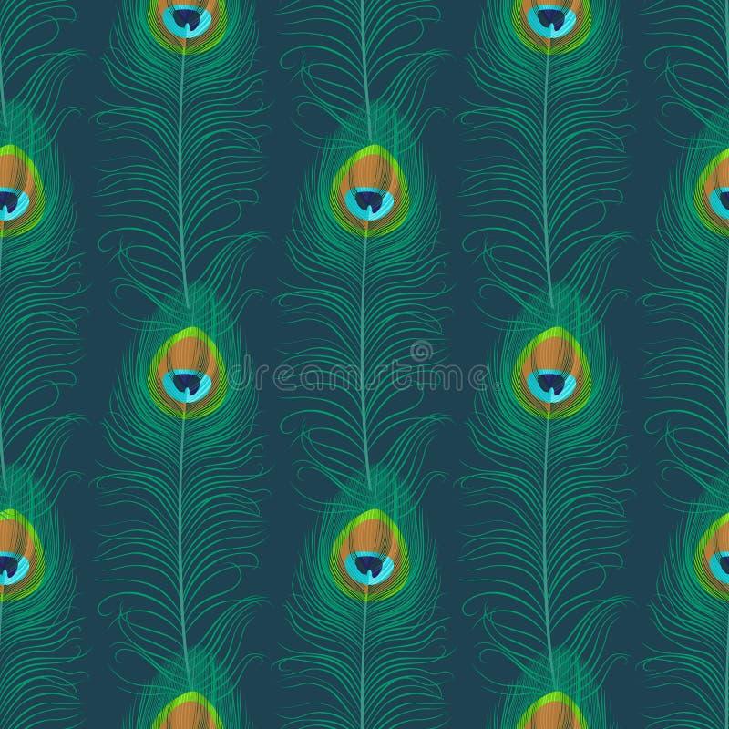 Άνευ ραφής πρότυπο φτερών Peacock απεικόνιση αποθεμάτων