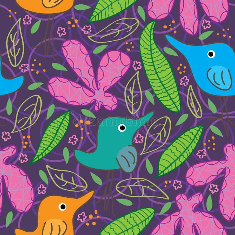 Άνευ ραφής πρότυπο φύλλων λουλουδιών τροφίμων πουλιών πλήρες απεικόνιση αποθεμάτων