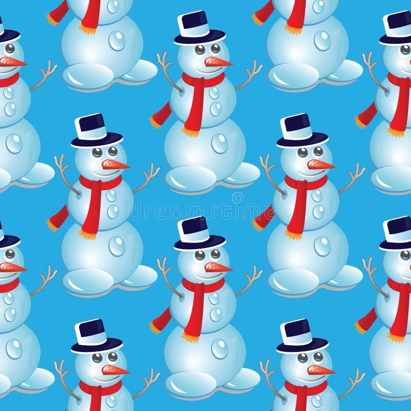 Άνευ ραφής πρότυπο Χριστουγέννων με το χιονάνθρωπο στοκ εικόνα