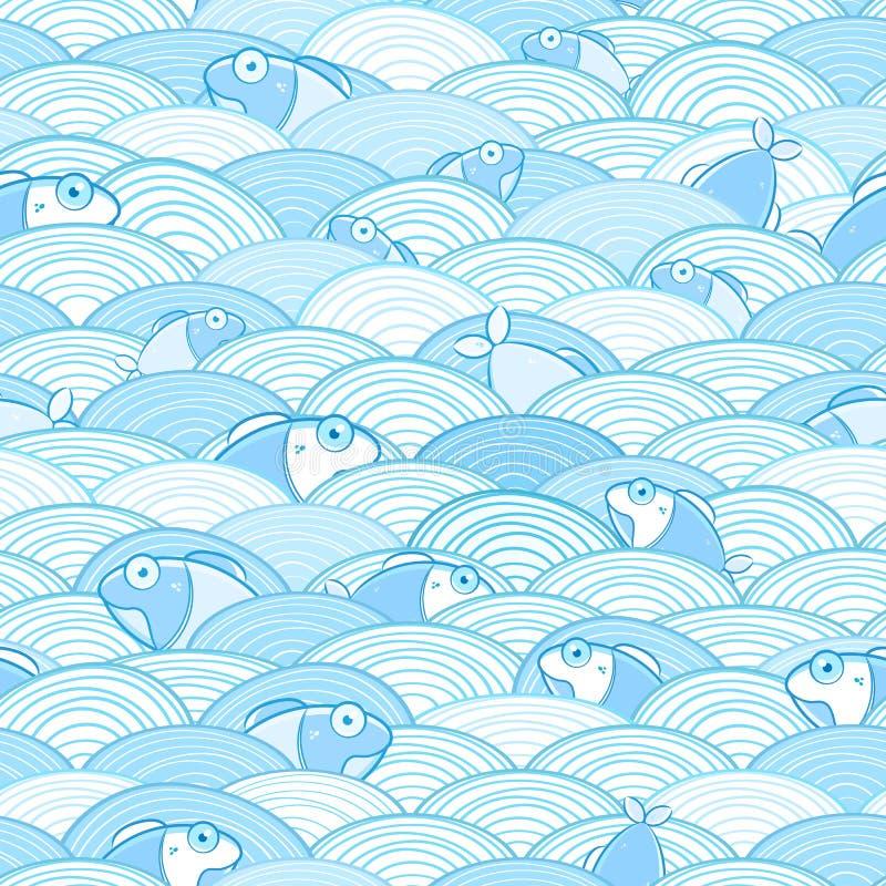 Άνευ ραφής πρότυπο ψαριών ύδατος απεικόνιση αποθεμάτων