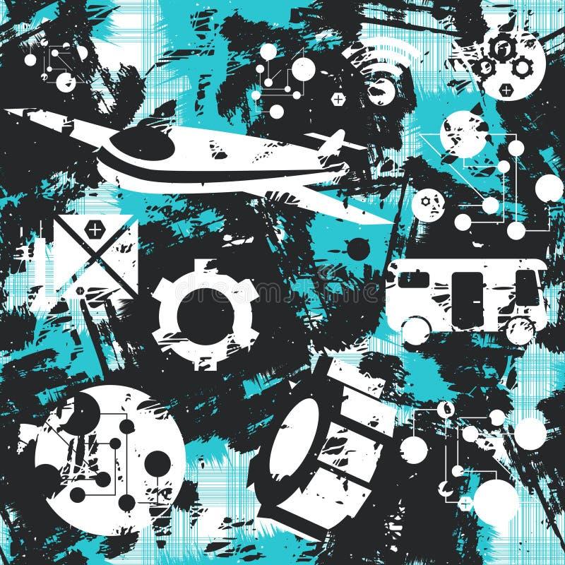 Άνευ ραφής πρότυπο Grunge Έννοια της μεταφοράς διάνυσμα απεικόνιση αποθεμάτων