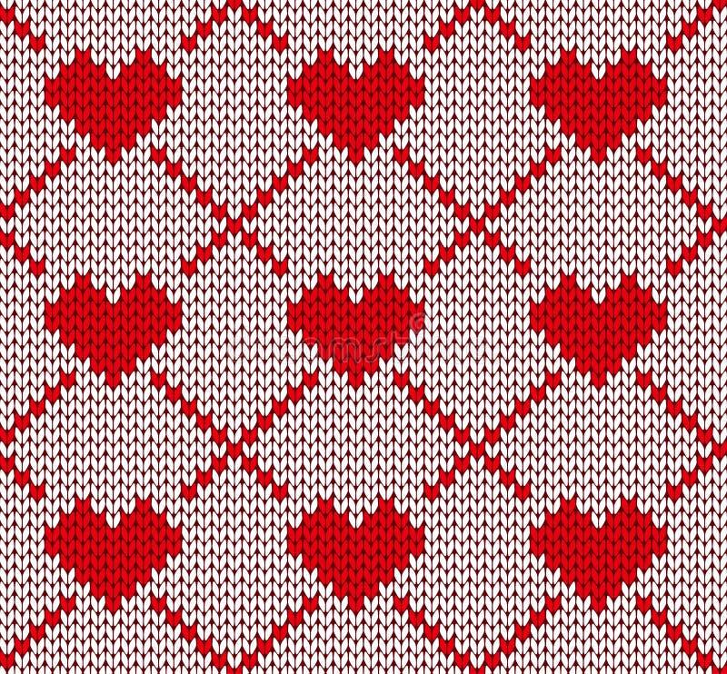 Άνευ ραφής πλέκοντας σχέδιο με τις καρδιές ελεύθερη απεικόνιση δικαιώματος