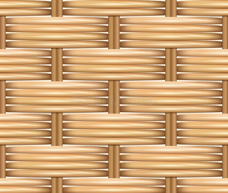 Άνευ ραφής ρεαλιστική σύσταση σχεδίων του υφαμένου ινδικού καλάμου διανυσματική απεικόνιση