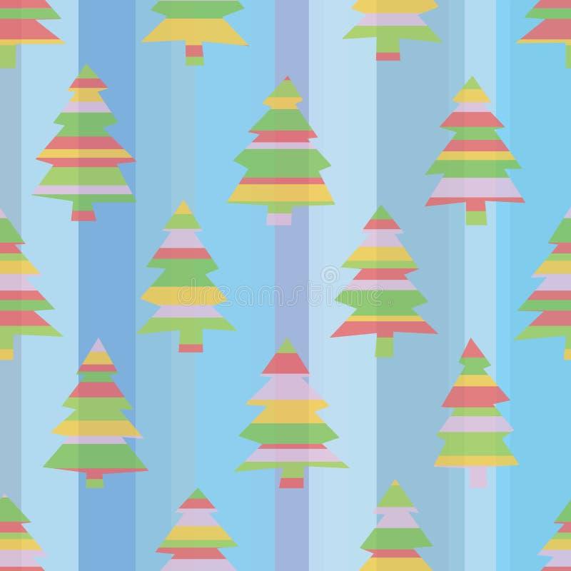 Άνευ ραφής ριγωτά χριστουγεννιάτικα δέντρα διανυσματική απεικόνιση