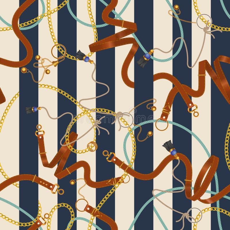 Άνευ ραφής ριγωτό σχέδιο με τις αλυσίδες και τις ζώνες Διανυσματικό μπάλωμα για το ύφασμα, μαντίλι απεικόνιση αποθεμάτων