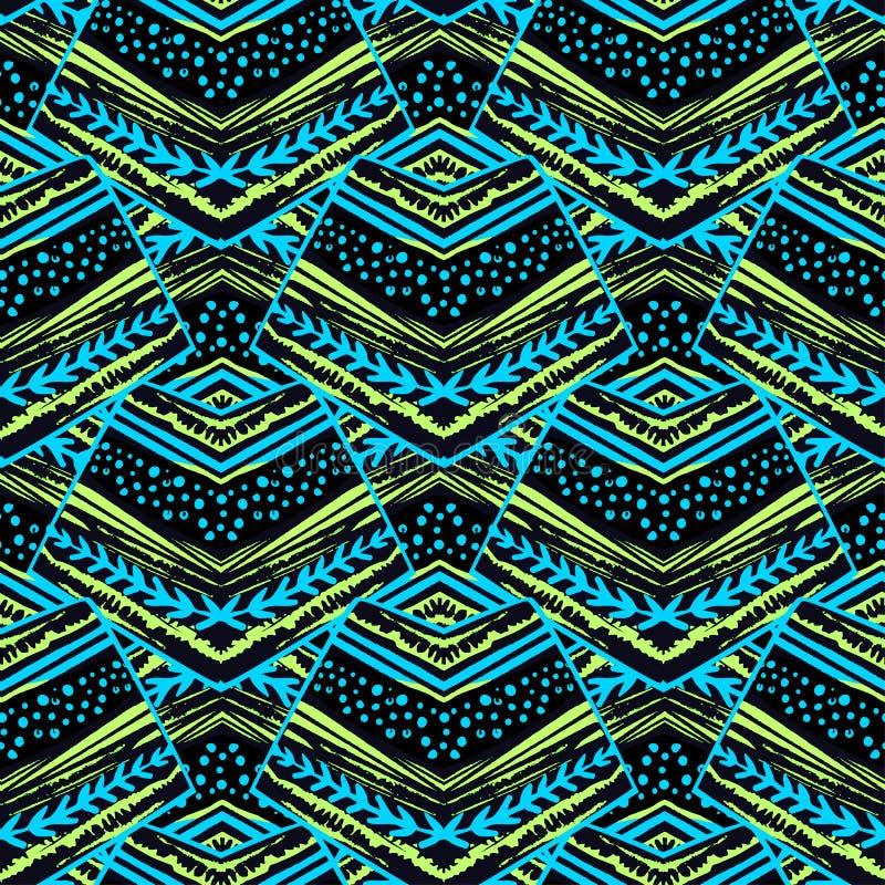 Άνευ ραφής ριγωτό floral γεωμετρικό σχέδιο Καθιερώνουσα τη μόδα τυπωμένη ύλη με το colo ελεύθερη απεικόνιση δικαιώματος