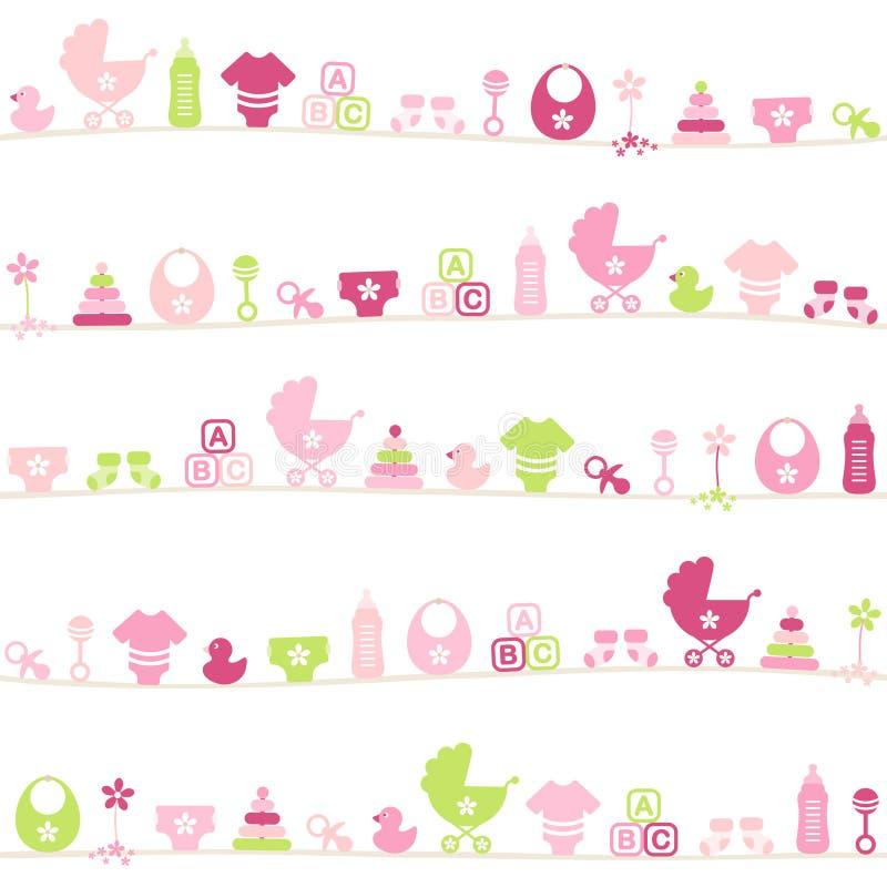 Άνευ ραφής ροζ κοριτσιών εικονιδίων μωρών σχεδίων διαφορετικό και πράσινος απεικόνιση αποθεμάτων