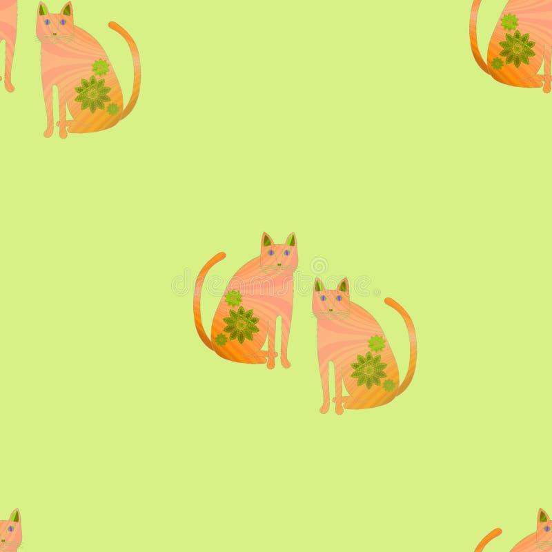 Άνευ ραφής ρόδινες πορτοκαλιές γάτες σχεδίων σε πράσινο ελεύθερη απεικόνιση δικαιώματος