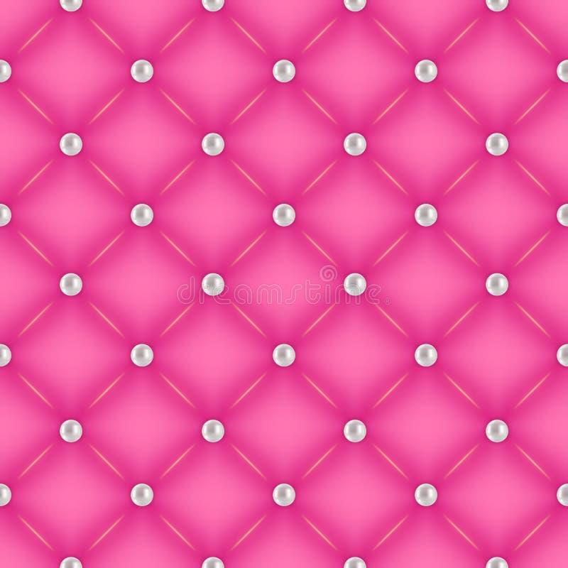 Άνευ ραφής ρόδινο γεμισμένο υπόβαθρο με τις καρφίτσες μαργαριταριών διανυσματική απεικόνιση