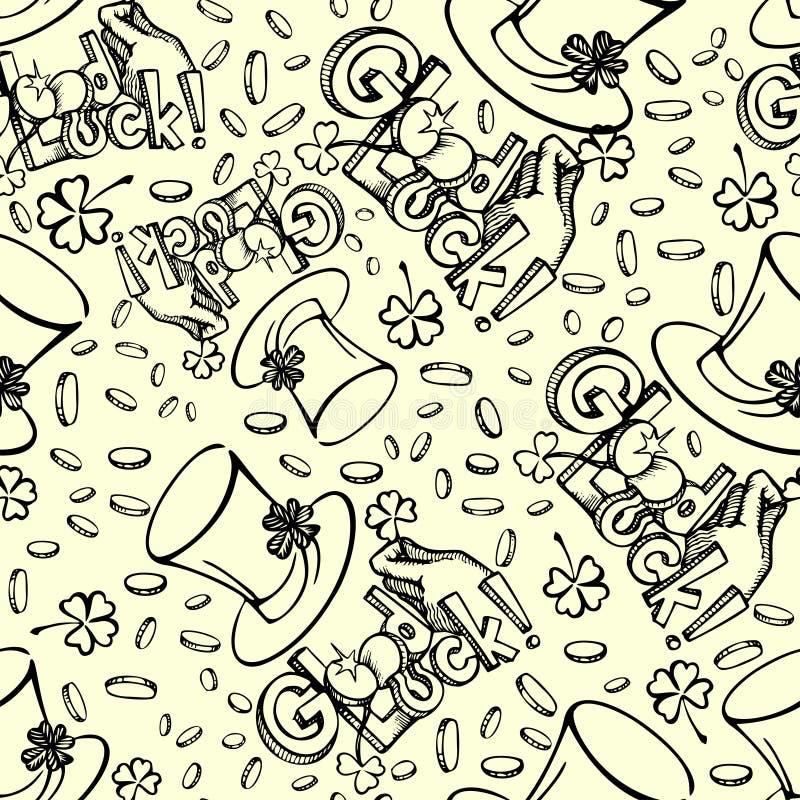 Άνευ ραφής σκιαγραφημένο υπόβαθρο ημέρας Αγίου Patricks Καπέλο Leprechaunt, χέρι με το chamrock, νομίσματα και καλή τύχη εγγραφής διανυσματική απεικόνιση