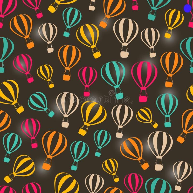 Άνευ ραφής σκοτεινό αναδρομικό σχέδιο με τα ριγωτά μπαλόνια ζεστού αέρα ελεύθερη απεικόνιση δικαιώματος