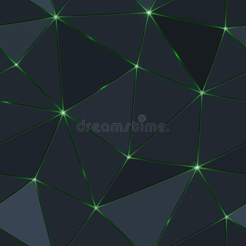 Άνευ ραφής σκοτεινό πολύγωνο με το πράσινο φως διανυσματική απεικόνιση