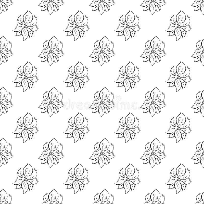 Άνευ ραφής συρμένο χέρι σχέδιο των αφηρημένων ροδαλών λουλουδιών που απομονώνεται στο άσπρο υπόβαθρο Διανυσματική floral απεικόνι ελεύθερη απεικόνιση δικαιώματος