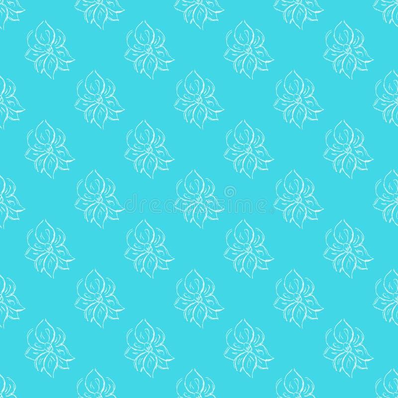 Άνευ ραφής συρμένο χέρι σχέδιο των αφηρημένων ροδαλών λουλουδιών που απομονώνεται στο μπλε υπόβαθρο Διανυσματική floral απεικόνισ ελεύθερη απεικόνιση δικαιώματος