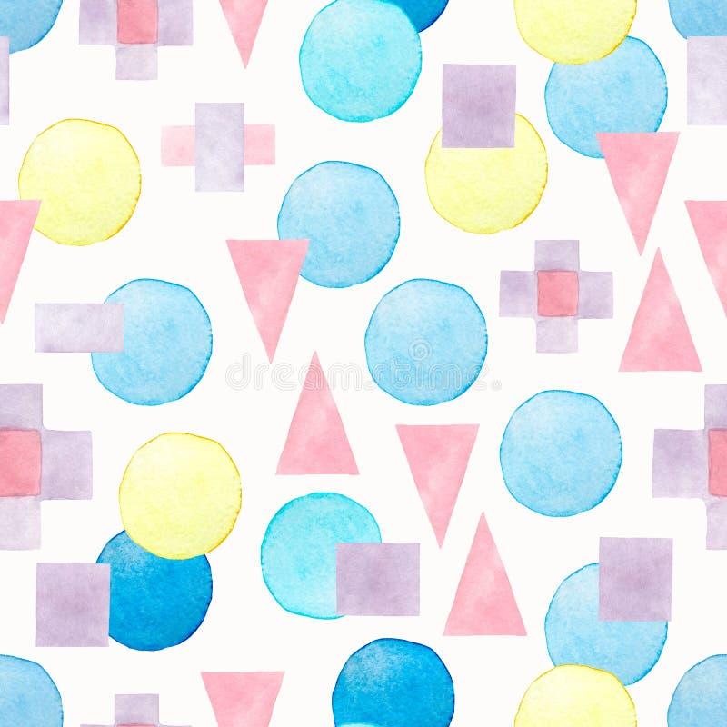 Άνευ ραφής συρμένο χέρι σχέδιο watercolor με τις ρόδινες, μπλε και ιώδεις διαφορετικές γεωμετρικές μορφές σε ένα άσπρο υπόβαθρο r απεικόνιση αποθεμάτων