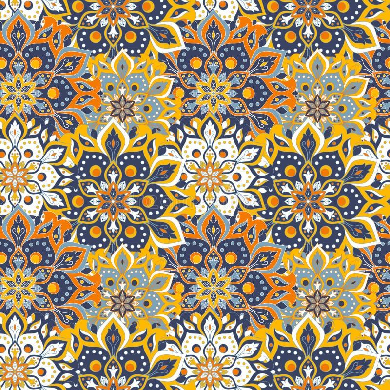 Άνευ ραφής συρμένο χέρι σχέδιο mandala Εκλεκτής ποιότητας στοιχεία στο orienta απεικόνιση αποθεμάτων