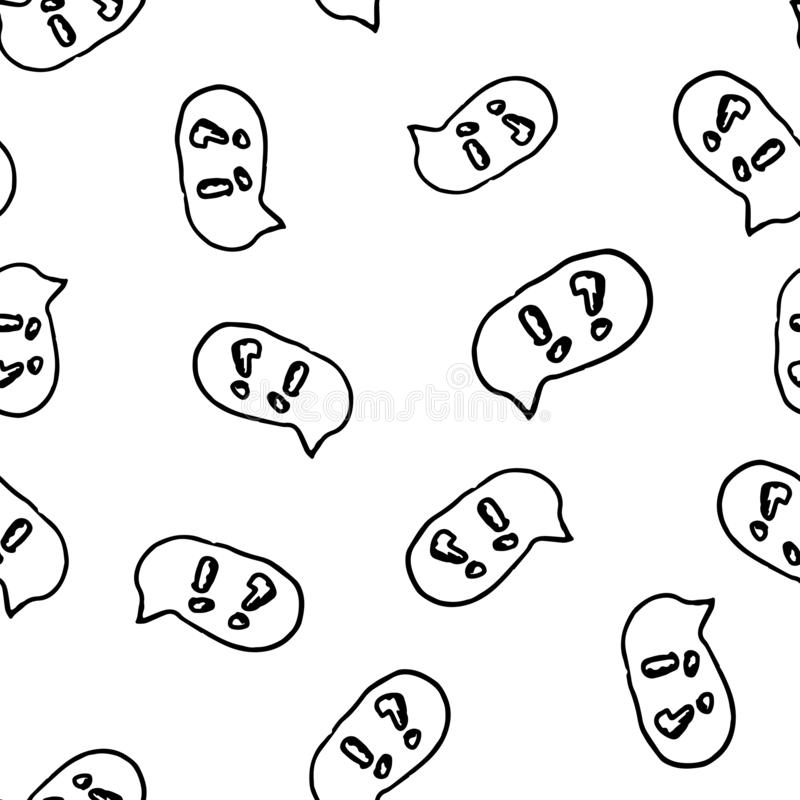 Άνευ ραφής συρμένο χέρι σύννεφο σχεδίων με το σημάδι και την ερώτηση θαυμαστικών doodle Εικονίδιο ύφους σκίτσων Στοιχείο διακοσμή απεικόνιση αποθεμάτων