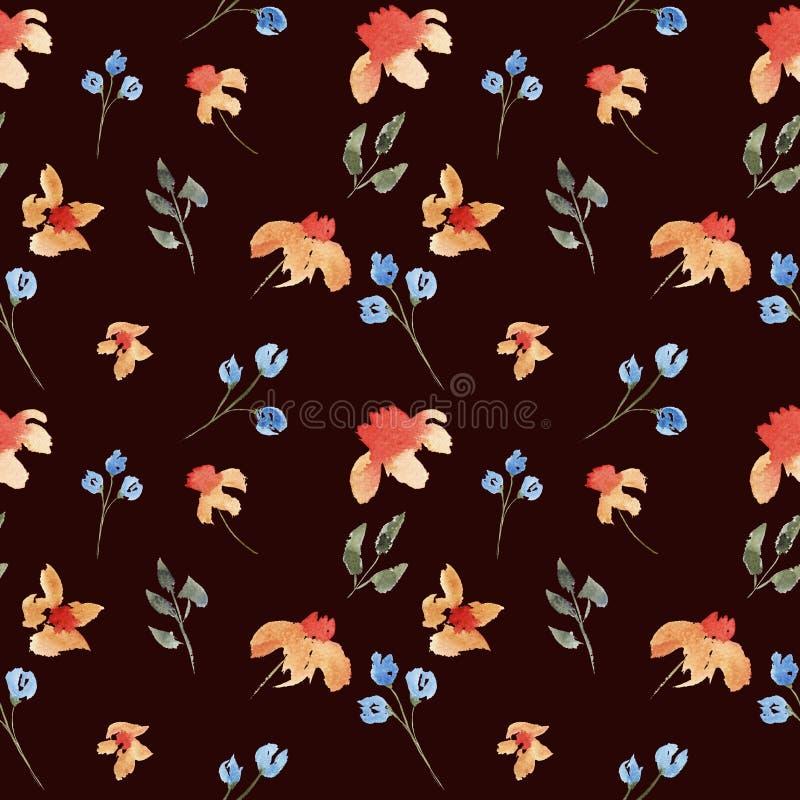 Άνευ ραφής συρμένο χέρι όμορφο floral σχέδιο watercolor με τα πορτοκαλιά και πορφυρά λουλούδια απεικόνιση αποθεμάτων