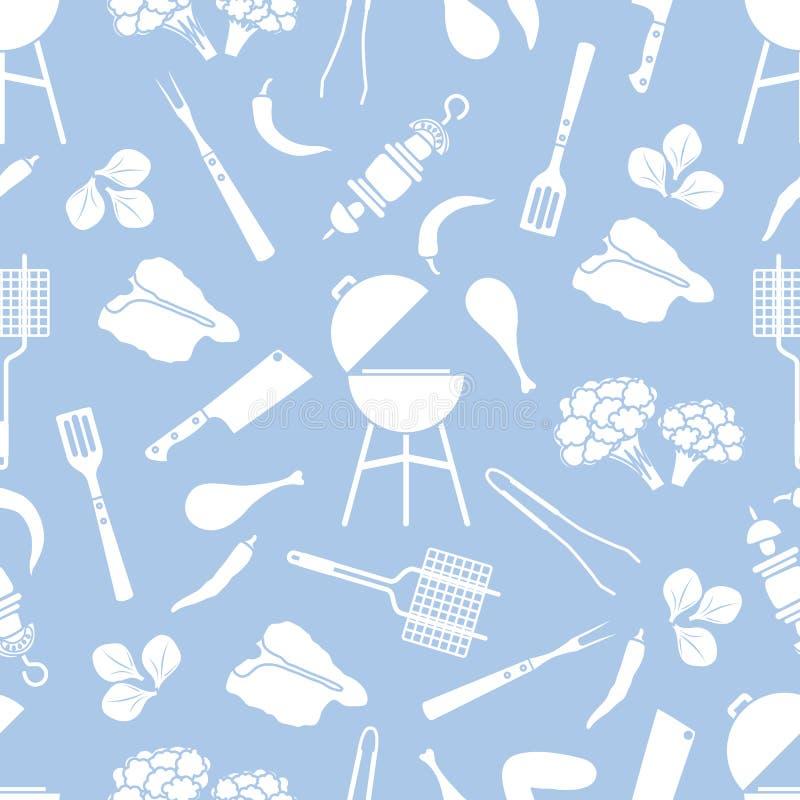 Άνευ ραφής σχάρα σχεδίων, εργαλεία σχαρών, τρόφιμα BBQ ελεύθερη απεικόνιση δικαιώματος
