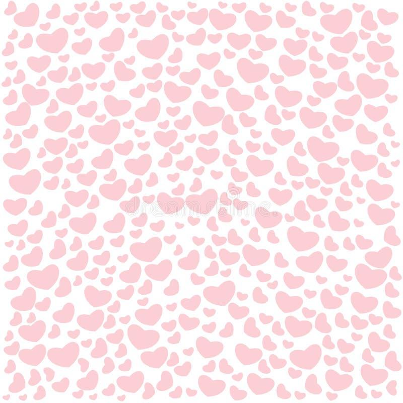 Άνευ ραφής σχέδια ημέρας βαλεντίνων ` s Ατελείωτα ρόδινα υπόβαθρα με τις καρδιές σε ένα άσπρο υπόβαθρο διανυσματική απεικόνιση