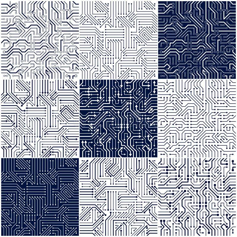 Άνευ ραφής σχέδια πινάκων κυκλωμάτων καθορισμένα, διανυσματική συλλογή υποβάθρων διανυσματική απεικόνιση