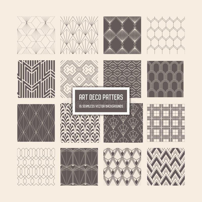 Άνευ ραφής σχέδια του Art Deco, 16 γεωμετρικά υπόβαθρα για το σχέδιο, κάλυψη, κλωστοϋφαντουργικό προϊόν, διακόσμηση απεικόνιση αποθεμάτων