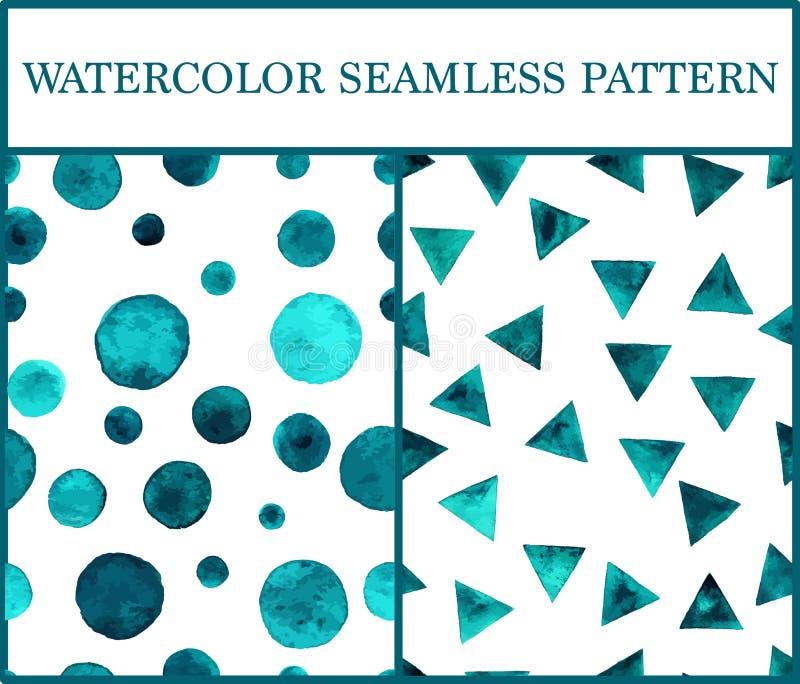 Άνευ ραφής σχέδια Watercolor που τίθενται με τα σμαραγδένια τρίγωνα και circ απεικόνιση αποθεμάτων