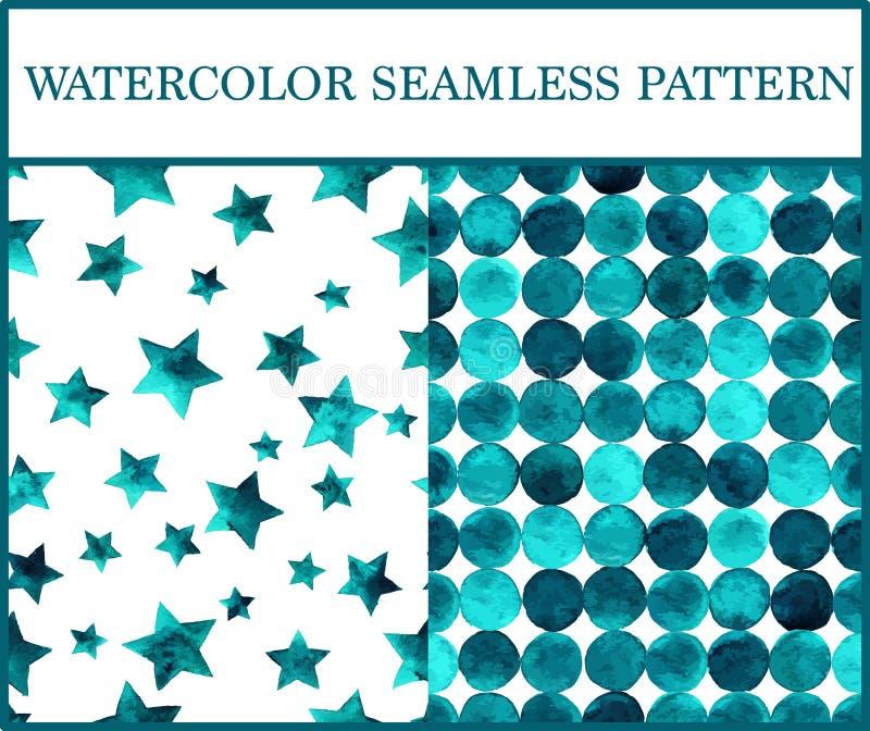 Άνευ ραφής σχέδια Watercolor που τίθενται με τους σμαραγδένιους κύκλους και τα αστέρια διανυσματική απεικόνιση