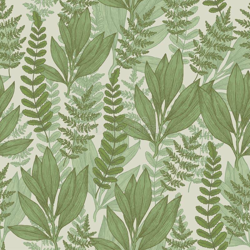 Άνευ ραφής σχέδιο άγριων εγκαταστάσεων ανασκόπησης ξηρός floral βρώμικος λεκιασμένος φυτό τρύγος εγγράφου φύλλων παλαιός επίσης c ελεύθερη απεικόνιση δικαιώματος