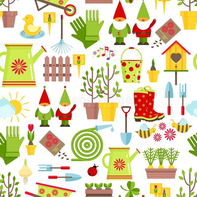 Άνευ ραφής σχέδιο άνοιξη και κηπουρικής Εργαλεία, διακοσμήσεις και εποχιακά σύμβολα της άνοιξη σε ένα άσπρο υπόβαθρο cartoon διανυσματική απεικόνιση