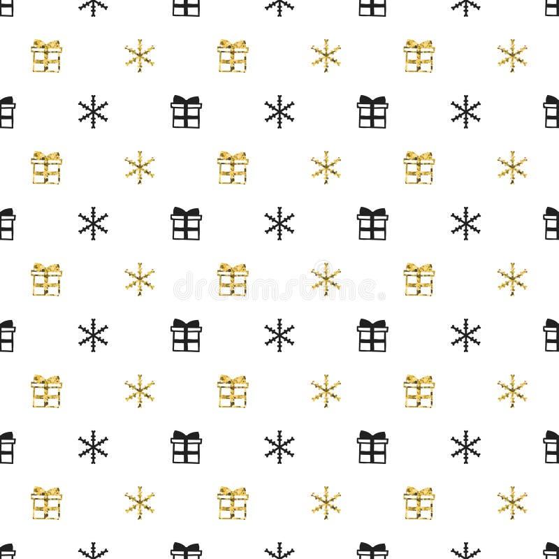 Άνευ ραφής σχέδιο έτους Χριστουγέννων νέο με snowflakes δώρων Μαύρο υπόβαθρο διακοπών Χρυσό άσπρο δώρο Χειμώνας Χριστουγέννων doo ελεύθερη απεικόνιση δικαιώματος