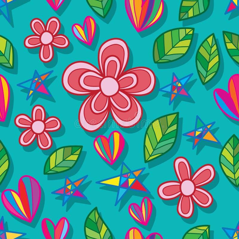Άνευ ραφής σχέδιο αγάπης αστεριών φύλλων λουλουδιών απεικόνιση αποθεμάτων