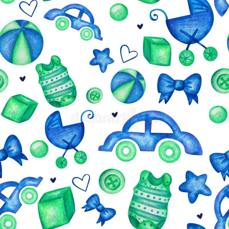 Άνευ ραφής σχέδιο αγοράκι υπόβαθρο παιδιών watercolor με το καροτσάκι σφαιρών αυτοκινήτων και το κομπινεζόν μωρών διανυσματική απεικόνιση