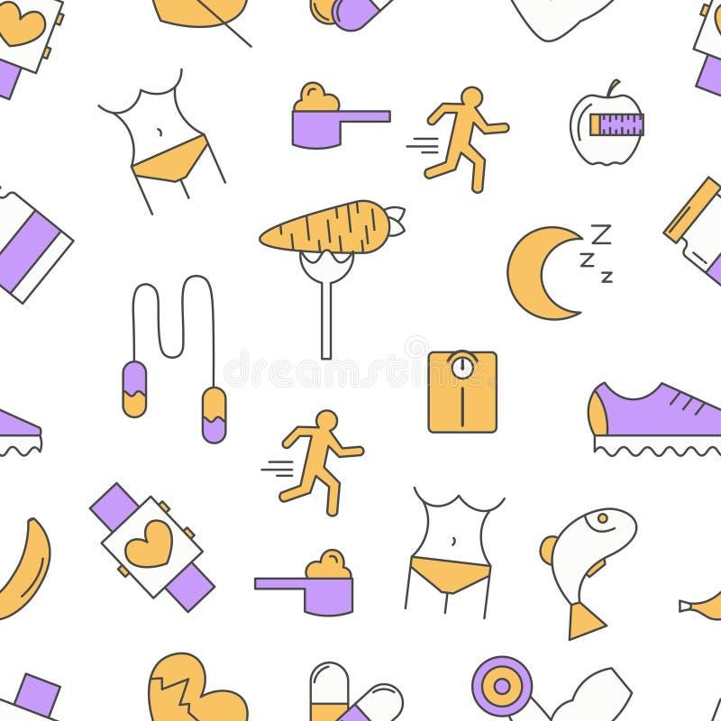 Άνευ ραφής σχέδιο αθλητικών τροφίμων, διανυσματικό σύγχρονο λεπτό επίπεδο σχέδιο γραμμών απεικόνιση αποθεμάτων