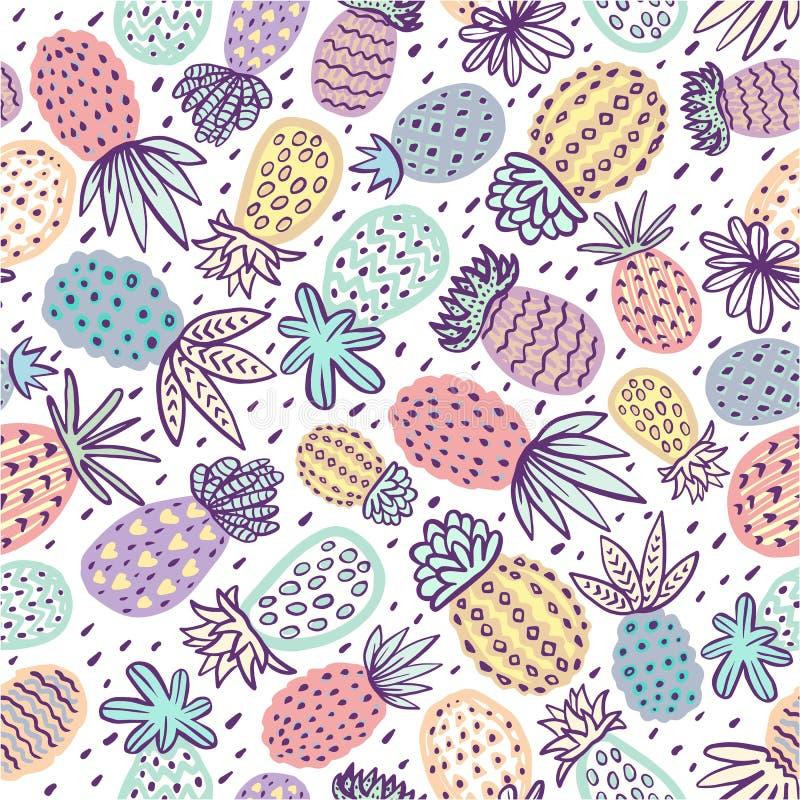 Άνευ ραφής σχέδιο ανανά Handdrawn ανανάς με τις διαφορετικές συστάσεις στα χρώματα κρητιδογραφιών Εξωτικό υπόβαθρο φρούτων για διανυσματική απεικόνιση