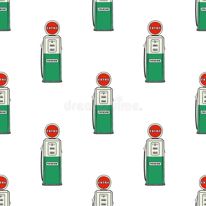 Άνευ ραφής σχέδιο αντλιών βενζινάδικων Εκλεκτής ποιότητας συρμένο χέρι σχέδιο σταθμών πετρελαίου Αποθεμάτων υπόβαθρο που απομονών απεικόνιση αποθεμάτων