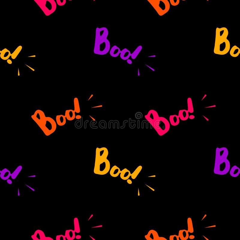 Άνευ ραφής σχέδιο αποκριών με το ζωηρόχρωμο κείμενο boo διανυσματική απεικόνιση