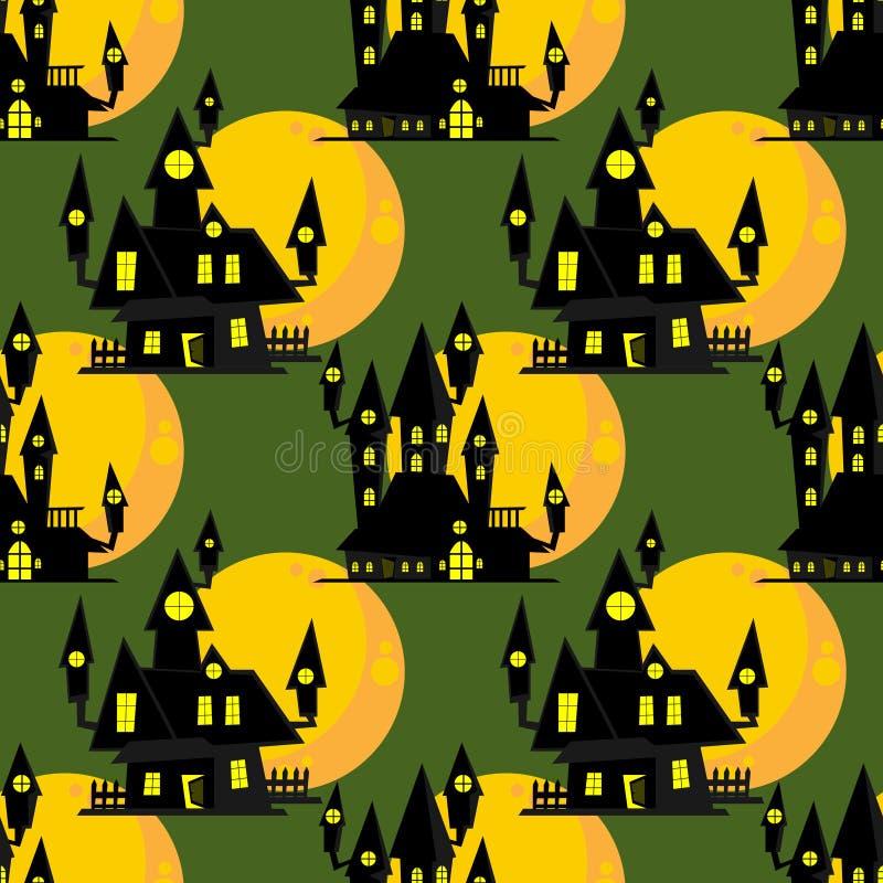 Άνευ ραφής σχέδιο αποκριών με το συχνασμένο σπίτι με τη πανσέληνο διανυσματική απεικόνιση