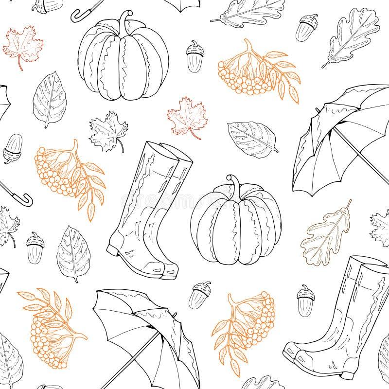 Άνευ ραφής σχέδιο από τα φύλλα, λαστιχένιες μπότες, ομπρέλα, τέφρα βουνών, κολοκύθα, βελανίδι σε ένα άσπρο υπόβαθρο στοκ εικόνα