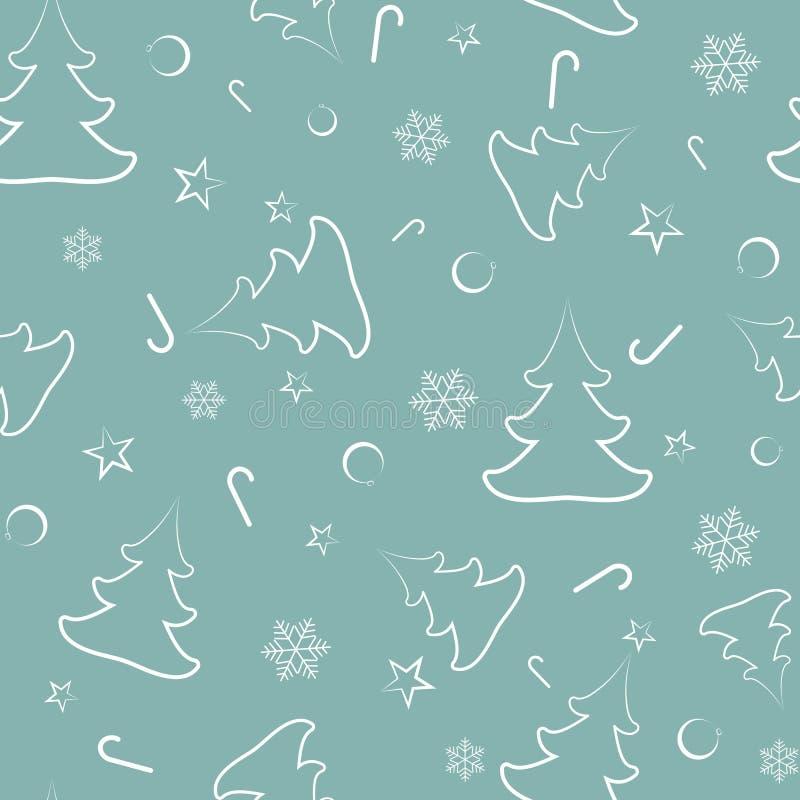 Άνευ ραφής σχέδιο από τα χριστουγεννιάτικα δέντρα, σφαίρες του νέου έτους, αστέρια, καραμέλες, snowflakes απεικόνιση αποθεμάτων